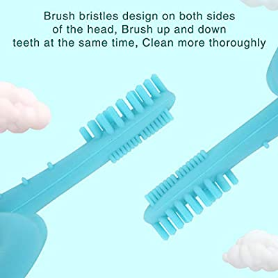 TEN@NIGHT Infant Self Toothbrush Baby Silicone Toothbrush Teether Training Teether Tooth Brush for Toddler (Blue) : Baby