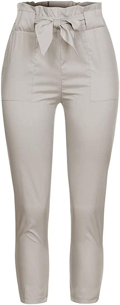 New Womens Ruffle Bowtie Cropped Paper Pants Summer Casual Ankle-Length Pencil Pants with Pockets