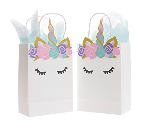 Unicorn Favor & Gift Bags, Set of 10, by Quokkaloco - Small Paper Party Bags with Woven Handles - Handcrafted Art with Flowers, Horn, Ears (Princess Filled Goody Bag)