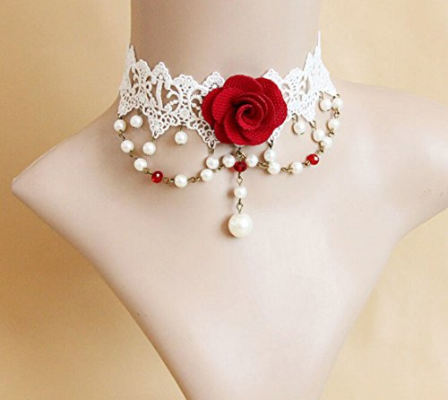 Pure Gothic Ribbon Bridal Lace Pattern Necklace Vintage Romantic Handmade Bridal Wedding White Lace Choker Necklace Short Flower Pearl Relighous Necklace (with Red Rose)