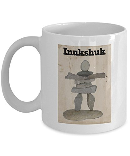 (Inukshuk Coffee Mug Gift | Inuit Art | Native American Coffee Cup | North American Indian Present | Heritage Cultural Mugs | Stone Sculpture Landmark )