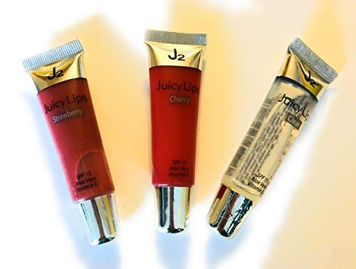 Juicy Lips 3pc Flavored lip gloss with SPF 15, Strawberry, Cherry and Clear