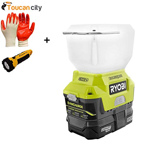 Toucan City LED Flashlight and Nitrile Dip Gloves and Ryobi 18-Volt ONE+ Lithium-Ion Cordless EVERCHARGE LED Area Light with (1) 1.3 Ah Battery and (1) Wall Mount Adaptor Charger P784K