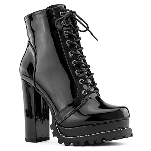 RF ROOM OF FASHION Women's Lug Sole Platform Chunky Heel Combat Ankle Boots Black Size.8.5