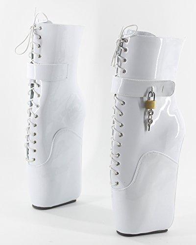 Wonderheel wedge heel fetisch Weiße patent Kurzschaft padlocks ballett stiefel