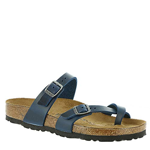 Extra Wide Leather Sandals - Birkenstock Women's Mayari Sandal Blue Oiled Leather Size 37 M EU