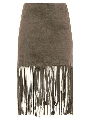 Muubaa Milo Beige Fringed Suede Skirt (4) by Muubaa London