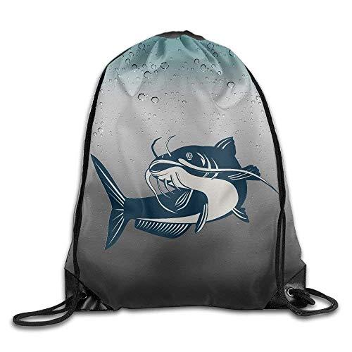 Catfish Art Print Drawstring Backpack Rucksack Shoulder for sale  Delivered anywhere in Canada