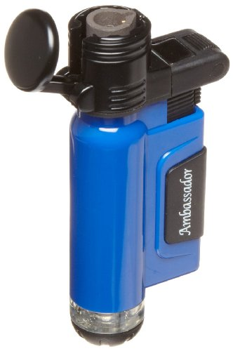 Blazer Ambassador Butane Refillable Torch Lighter, Blue (Ambassador Metal)