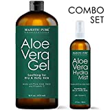 MAJESTIC PURE Aloe Vera Gel and Mist Super Combo - 16 oz Gel and 4 oz Hydra Spray - 100 Percent Pure and Natural Cold Pressed Aloe Vera for Hair Growth, Face, Body and Skin