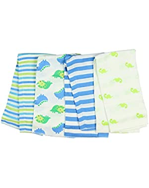 Boy Print Prefold Diaper Burp Cloths - Dinosaurs and Stripes (4 Count)