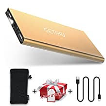 GETIHU 10000 mAh Portable Power Bank with 2 USB Ports Mobile Charger External Battery Backup Ultra Slim Thin Powerbank for iPhone X 8 7 6s 6 Plus 5s 5 Samsung Cell Phone iPad(Gold)