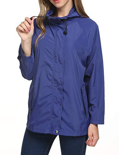 Raincoat Women Weatherproof Petite Snap-Front Watertight Rain Jacket(Blue,L)