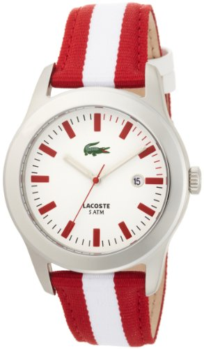 Lacoste Men's 2010502 Advantage Red and White Grosgrain Strap White Dial Watch (Lacoste Advantage)