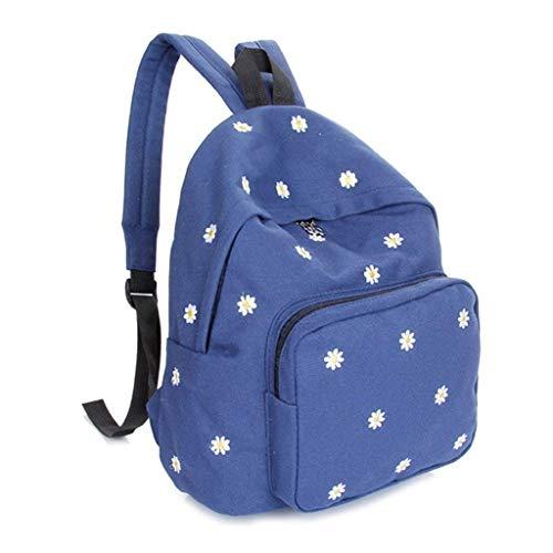 Filles Rose Voyage Toile Sac d'école Adolescent Moontang Sac Vert à coloré Broderie Fleur Casual Taille Dos Bleu wRBPA