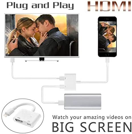 Compatible with iPhone to HDMI Adapter Cable,SJ-HYNG Digital AV Adapter 1080p HD TV Connector for iPhone11//Pro//Pro Max//X//XS//XR// 8 iPad