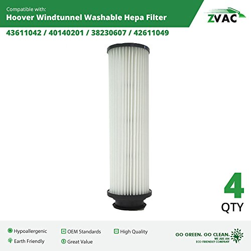 Hepa Filter Vacuum Replacement 40140201 (4 Hoover Windtunnel Washable HEPA Filters Generic Part By ZVac. Replaces Part Numbers 471062, 40140201, 43611042, 42611049, F923, Fits: All Hoover Bagless Upright Models With The Twin Chamber System)