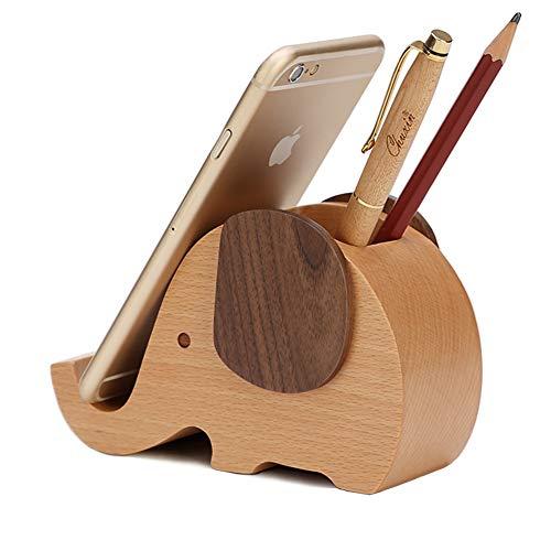 (HyFanStr Natural Wooden Elephant Pen Pencil Holder Phone Stand Holder, for Desktop Decoration)