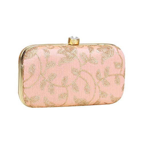 Designed Silk Texture Clutch Box Specially on Zari Designer Hand Pink Light Work Embroidery with Crafted zpqnzvxRw7