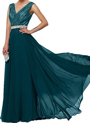 Charmant Abendkleider Spitze Blau Rock Royal V Ausschnitt Bodenlang Dunkel Brautmutterkleider Damen Blau Chiffon Linie Festlichkleider A rq0Xxr