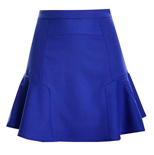 Freestyle t Femmes Casual Couleur Unie Mini Jupe de Plage Jeune Mode Haute Taille Ajoure Jupes de Fte Soire Cocktail Vacances Bleu Royal