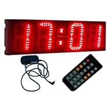"""BESTLED Large 6"""" 4 DigitsLED Digital Clock Wall Mounted Countdown/up 12/24 Hour Format Display,Red"""