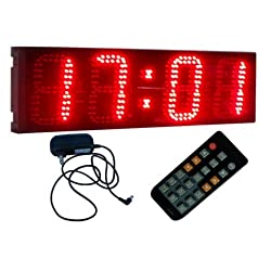 BESTLED 6 4 Digits Semi-Outdoor LED Digital Clock Wall Mounted Countdown/up Clock 12/24 Hour Format Display