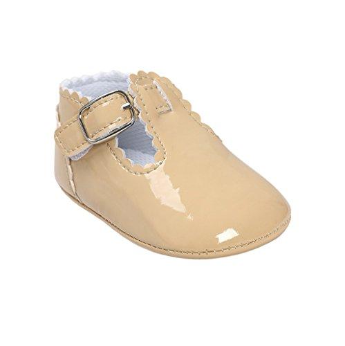 Primeros zapatos para caminar,Auxma La princesa del bebé Sola suave calza las zapatillas de deporte del niño Zapatos ocasionales caqui