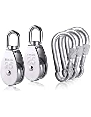 2 pcs M25 Single Pulley Block with 3 pcs Spring Snap Hook Carabiner, Heavy Duty 304 Stainless Steel Pulley Roller & 3'' Spring snap Hooks, Pully Crane Swivel Hook Wire Rope Cable Loading 331lbs/150 kg