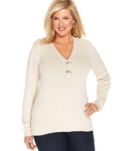 Charter Club Cream Metallic Women's Plus Buckle V-Neck Knit Sweater Ivory 3X