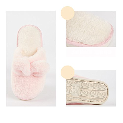 Zapatillas DWW de algodón de invierno interior hermosa casa anti-gruesa impermeable zapatos calientes Pink