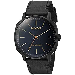 Nixon Men's 'Regent II' Swiss Quartz Stainless Steel and Leather Automatic Watch, Color:Black (Model: A9732315)