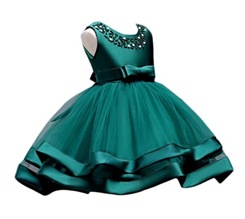 Oukaiyi Girls Lace Bridesmaid Dress Wedding Pageant Dresses Tulle Party Gown Age 3-9Y(Dark Green,8-9Y)
