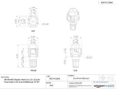 "SMC AR30-N02E-Z Regulator, Relieving Type, 7.25 - 123 psi Set Pressure Range, 53 scfm, Square Embedded Gauge, 1/4"" NPT"