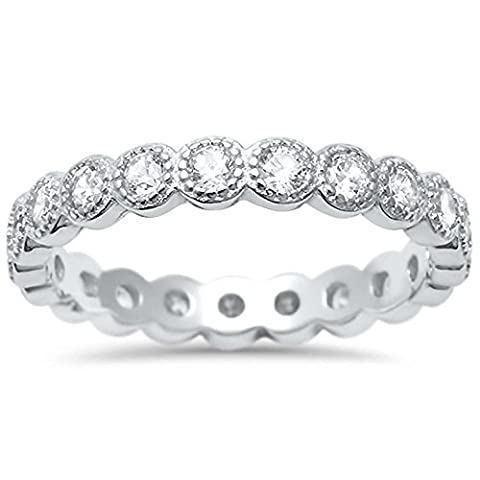 Sterling Silver Antique Style Bezel Set Eternity Stackable Ring Sizes 5 (Antique Ring Band)