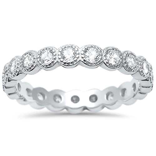Oxford Diamond Co Sterling Silver Antique Style Bezel Set Eternity Stackable Ring Sizes 5