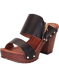 Cambridge Select Women's Retro 70s Studded Clog Chunky Platform Block Heel Slide Sandal
