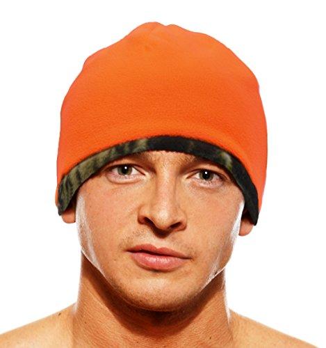 KC Caps Mens Blaze Orange Camo Beanie Hunting Cap Reversible Fleece Outdoor Safety Hat