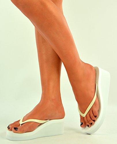 Wedges New Platform Slippers Size Cucu Shoes White Fashion Flops Sandals Flip 8 3 UK Womens Ladies TanTIB1