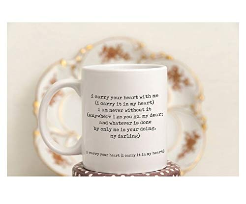 Amazoncom I Carry Your Heart Mug Ee Cummings Coffee Mug Coffee