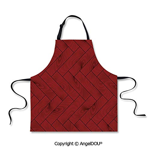 SCOXIXI Printed Unique Cool Kitchen Apron Zigzag Wood Texture Image Parquet Arboreal Surface Herringbone Country Design Home Cooking Baking Waist Bib.]()