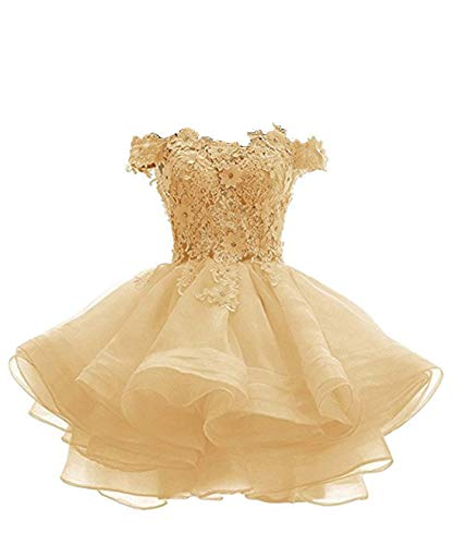 ANGELA Women's Off The Shoulder Organza Short Prom Homecoming Dresses Gold -