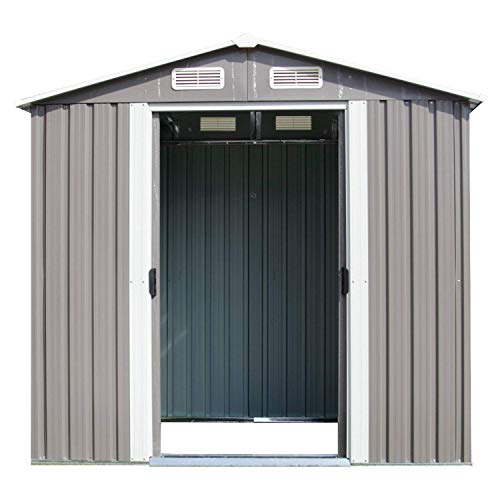 Kinbor Outdoor Steel Storage Shed Toolshed Backyard Utility Storage Building (6′ x 4′ Sloped Roof, Grey)