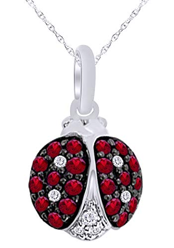 Round Cut Simulated Ruby & Diamond Ladybug Pendant Charm Necklace in 14K Solid White Gold (0.38 Cttw)