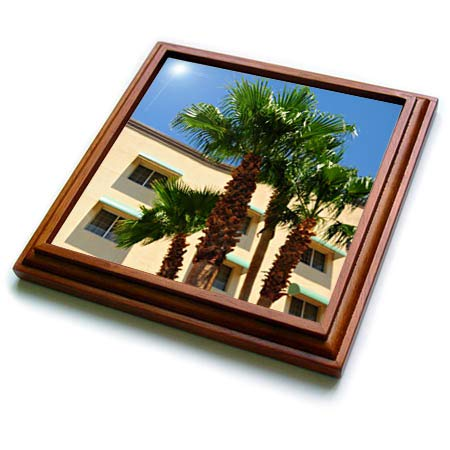 3dRose Jos Fauxtographee- Eureka Hotel and Casino - A hotel and casino in Nevada with tall palm trees - 8x8 Trivet with 6x6 ceramic tile ()