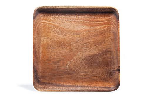 (Islandoffer Premium Japanese Square Acacia Luxury Wooden Dessert Dishes Plate Tray(9.86