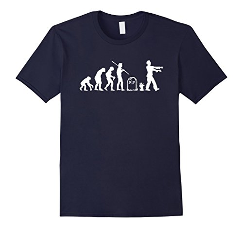 Mens Zombie Evolution Funny Zombie T-Shirts Small Navy