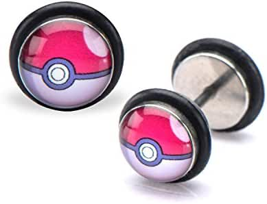 Pokemon Pokeball Fronts 18g Stainless Steel Faux Plugs