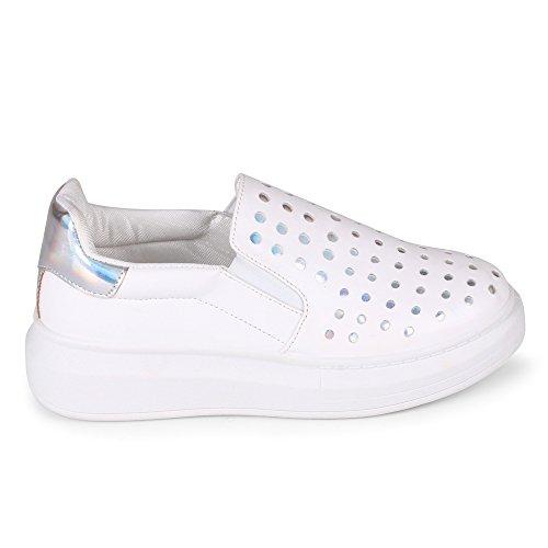 Slip Déchalote Voulu Sur Sneaker De Mode Blanc / Argent
