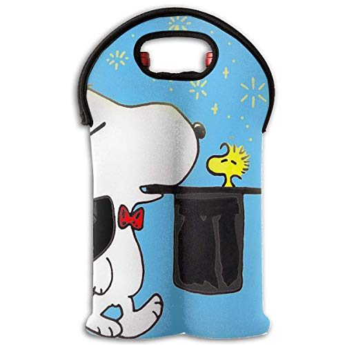 - Wine Carrier Tote Bag- Snoopy with Hat Durable Neoprene Wine/Water Bottle Tote (2-Bottle)